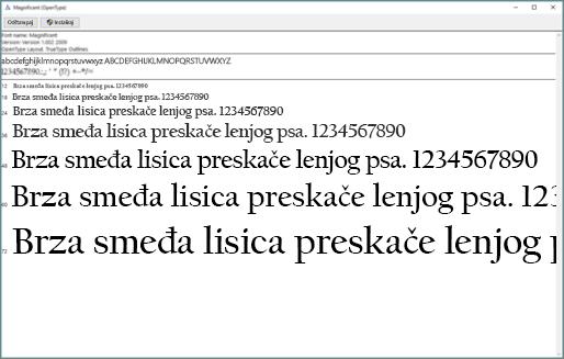 Windows pregledač fontova omogućava prikazivanje i instalaciju fontova na Windows računaru