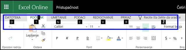 """Traka programa ExcelOnline koja prikazuje karticu """"Početak"""" i savete o tasterskim prečicama za sve kartice"""