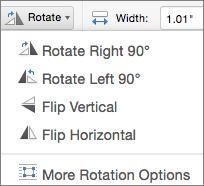 Office for Mac Shape Rotate Menu