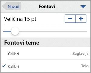 Izbor veličine fonta