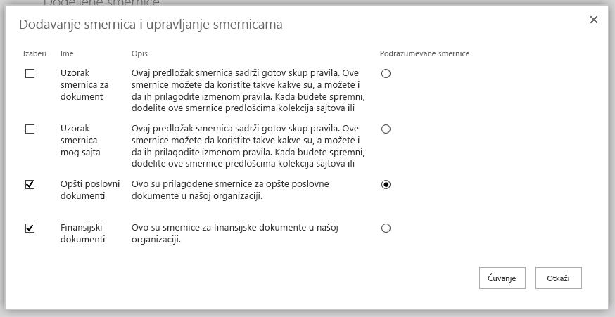 Dodavanje i Upravljanje smernicama stranice