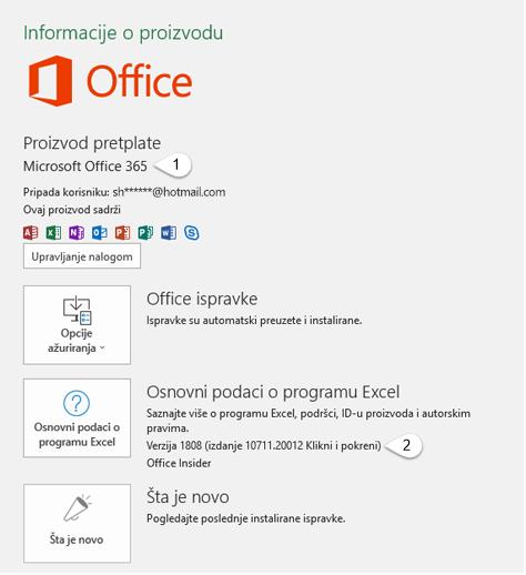 Stranica naloga koja sadrži informacije o korisniku i proizvodu