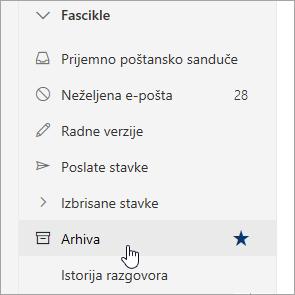 "Snimak ekrana fascikle ""Arhiva"""