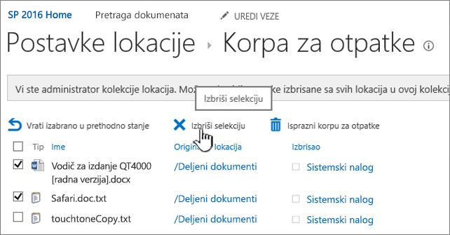 """Korpa za 2016 SharePoint stranice dugme """"Izbriši"""" markirana"""