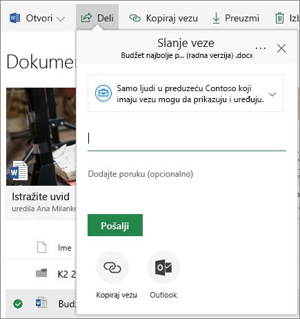 SharePoint online deljeni dokument