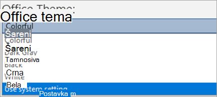 """Prikaži opcije u okviru stavke """"Office"""""""