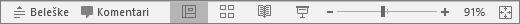 Pokazuje dugmadi za prikaz na dnu ekrana u programu PowerPoint