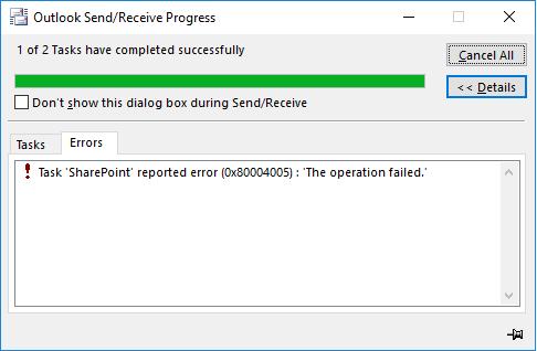 Greška pri povezivanju sa SharePoint bibliotekom dokumenata