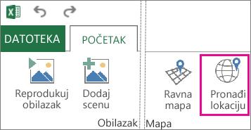 """Dugme """"Pronađi lokaciju"""" na kartici """"Početak"""" u programu Power Map"""