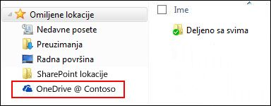 Sinhronizovana OneDrive for Business biblioteka u okviru Windows omiljenih lokacija