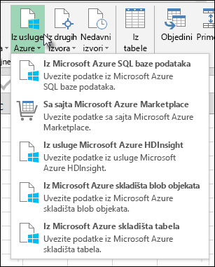 Power Query uvoz Azure u dijalogu