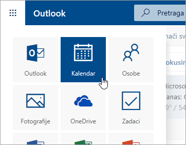 Snimak ekrana pločice kalendara u pokretanju aplikacija