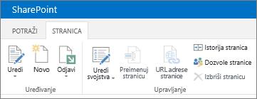 Traka sistema SharePoint 2013 u gornjem levom uglu ekrana
