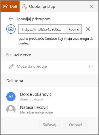 Snimak ekrana koji prikazuje korisnika koji se pošalju vezu svojstva veze.