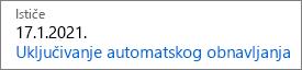 Ovo je pretplatu na koji ističu izgleda kao kada automatsko obnavljanje je isključen.