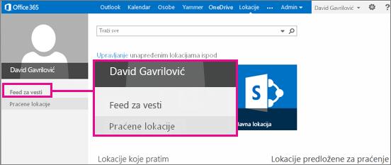 """Snimak ekrana stranice """"Lokacije"""" sa istaknutom vezom """"Feed za vesti"""""""