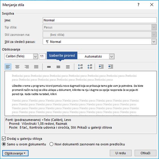 Izmenite opcije proreda u stilu da biste prilagodili vertikalni razmak u programu Word.