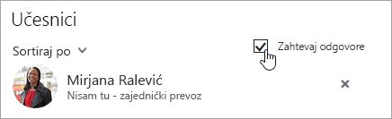 """Snimak ekrana dugmeta """"Zatraži odgovore"""" u programu Outlook na vebu"""