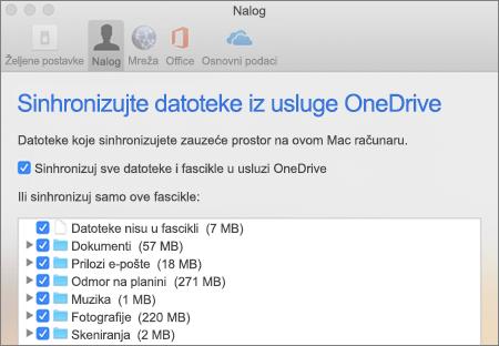 """Sinhronizovanje dijaloga """"Fascikle"""" za OneDrive za Mac"""