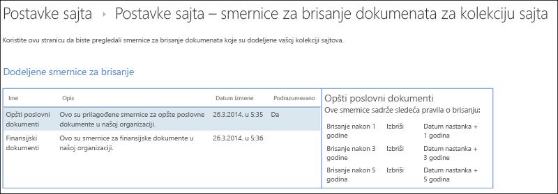 Smernica za brisanje dokumenata dodeljene kolekcije lokacija