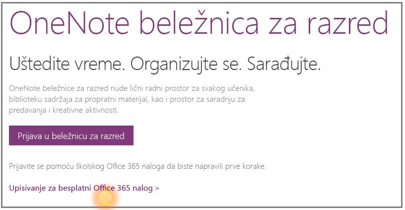Snimak ekrana dobijanja besplatnog Office 365 naloga.