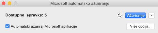 Microsoft AutoUpdate kada su ispravke dostupne.