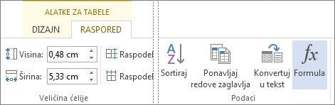 "Dugme ""Formula"" za alatke za tabele"