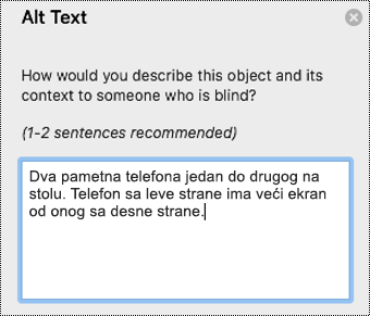 Alternativni tekst u programu Outlook za Mac.