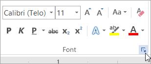 Klik na pokretač dijaloga Font