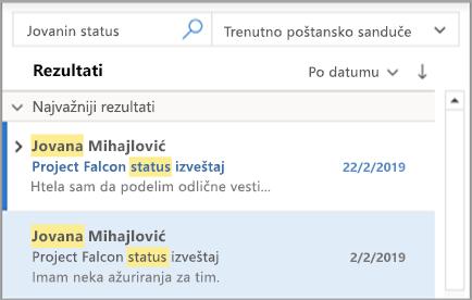 Prikazuje rezultate pretrage u programu Outlook