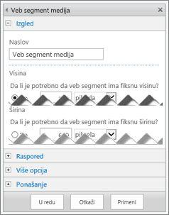 Snimak ekrana table za uređivanje veb segmenta za medije koji prikazuje neka svojstva koja možete konfigurisati