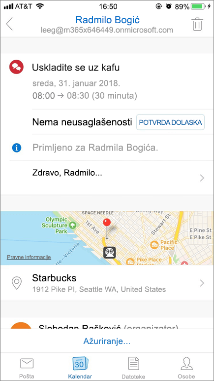 Snimak ekrana prikazuje ekran mobilnog uređaja sa kalendarske stavke poziv.