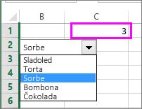 Povezana ćelija prikazuje broj stavke kada se izabere stavka.