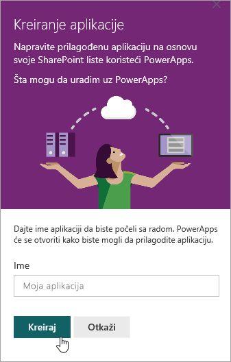 Obezbeđivanje ime za na PowerApp i zatim kliknuti na dugme Kreiraj.