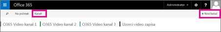 "Dugme ""Kanali"" i dugme ""+ Novi kanal"""