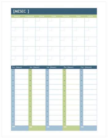 Mesečni i sedmični kalendar planova (Word)