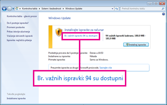 Veze u Windows Update oknu