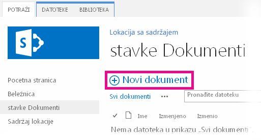 """Klik na dugme """"Dodaj"""" radi prevlačenja datoteka u biblioteku"""