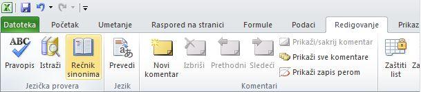 """Rečnik sinonima na kartici """"Redigovanje"""" na traci programa Excel"""