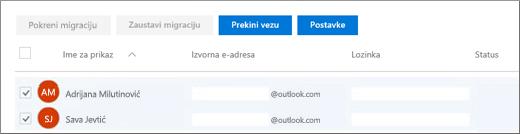 Svi korisnici se navode sa unapred popunjenom e-adresom