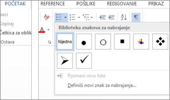 """Biblioteka znakova za nabrajanje otvorena uz pomoć dugmeta """"Znakovi za nabrajanje"""" u grupi """"Pasus"""" na kartici """"Početak"""""""