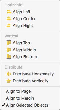 Da biste poravnati objekte jedan u odnosu na drugi, izaberite stavku Poravnaj izabrane objekte.