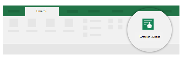 """Novi programski dodatak može da se pojavljuju u bilo koju karticu, u ovom primeru je osoba grafikona na kartici """"Umetanje""""."""