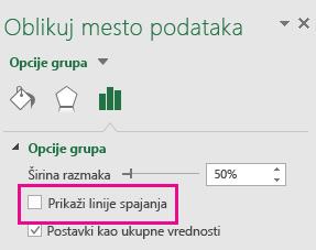 """Okno zadatka """"Oblikovanje mesta podataka"""" sa neoznačenom opcijom """"Prikaži linije spajanja"""" u sistemu Office 2016"""