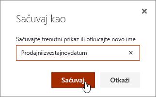 SharePoint Online prikaz čuvanje kao dijaloga