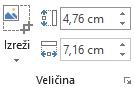 """Dugme """"Izreži"""" i polja """"Visina i """"Širina"""" za slike na traci u sistemu Office 2016"""