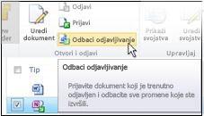 """Ikona """"Odbacivanje odjavljivanja"""" na traci sistema SharePoint"""