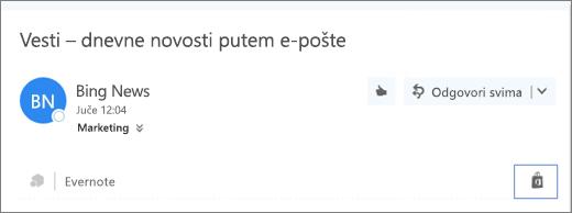 """Snimak ekrana odlomka iz gornjeg dela e-poruke sa markiranom ikonom """"Prodavnica"""". Klikom na ikonu se otvara prozor """"Programski dodaci za Outlook"""", gde možete da potražite i instalirate programske dodatke."""