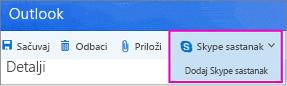 """Opcija """"novi Skype sastanak"""" u programu Outlook na vebu"""
