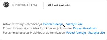 """Odaberite """"Podešavanje"""" pored stavke """"Active Directory sinhronizacija"""""""